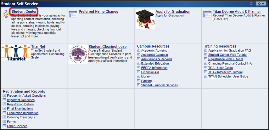 Student Self Service section