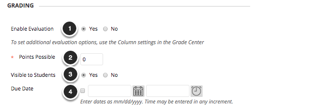 Image of the Grading section with the following annotations: 1.Enable Evaluation: Select Yes to enable grading for Echo content.2.Points Possible: Enter the total number of points possible here.3.Visible to Students: Select Yes to make the item visible to students in My Grades4.Due Date: Use the time and date selectors to select a due date for the item.