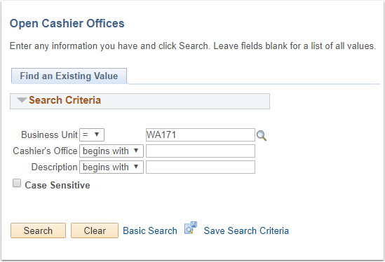 Open Cashier Offices - Find an Existing Value tab
