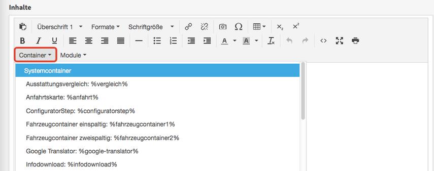 Container im Inhalte-Editor einfügen