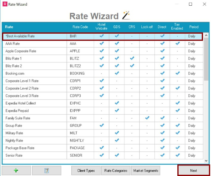 Select Rate you would like to View
