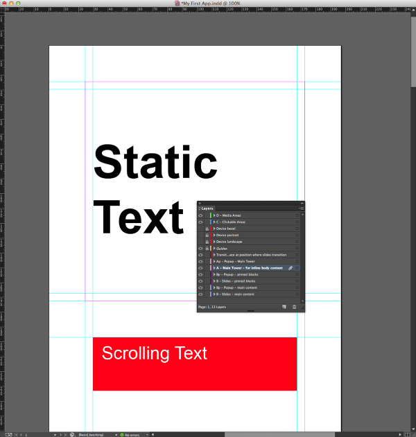 "On the A - Main Tower layer, draw a filled text-box with the words ""Scrolling Text"" below the last horizontal guide."