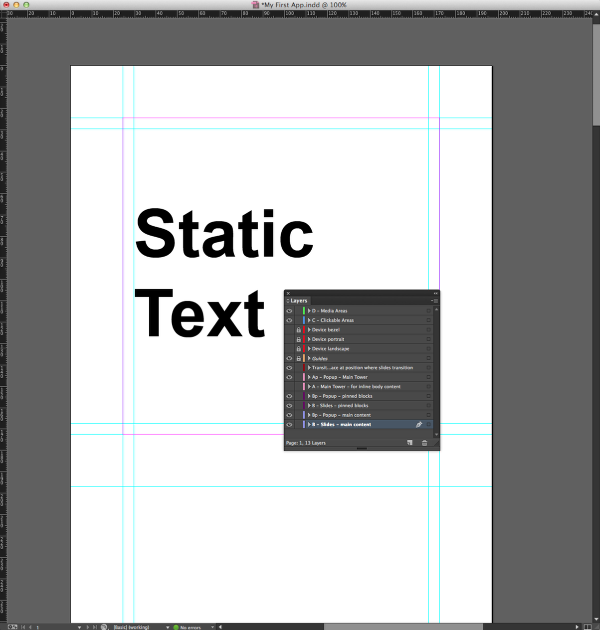 "Draw a text box with the words ""Static Text"" within the guides on the B-Slides-Main Content layer."
