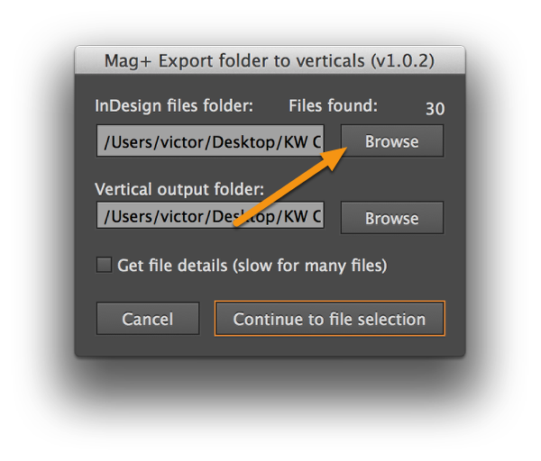 "Click the top ""Browse"" button and choose a folder containing InDesign documents."