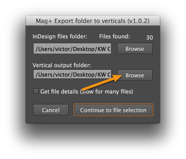 "Click the bottom ""Browse"" button and point to the parent issue folder you want to export to."