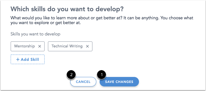 Image of Profile Editor page with the Save Changes and Cancel buttons highlighted