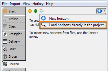 Search for horizons in the project database
