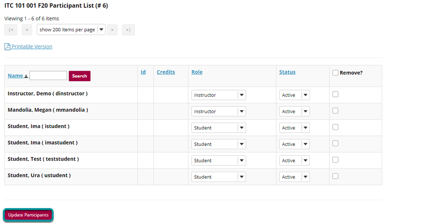 Select Update Participants.