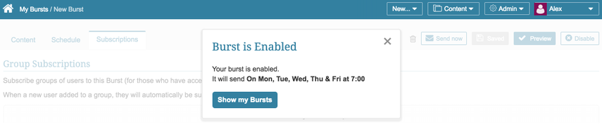 Once enabled, the Report Burst will run on the schedule you set up