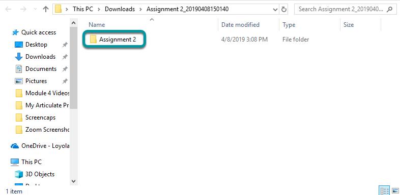 View assignment folder.