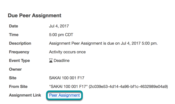 Or, select the direct link to the assignment from Schedule/Calendar.