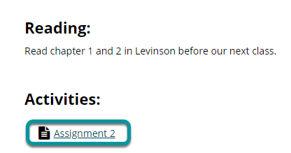 Or, select the direct link to the assignment in Lessons.