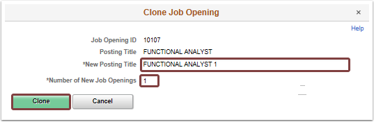 Clone Job Opening pagelet