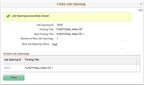 Job Opening successfully cloned
