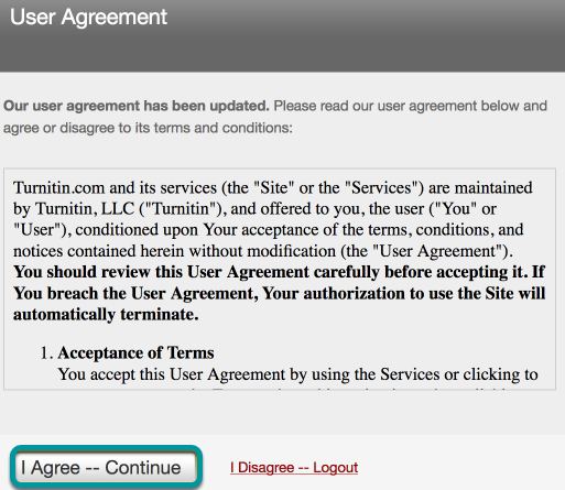 User Agreement.