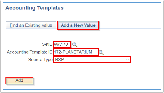 Accounting Templates Add a New Value tab