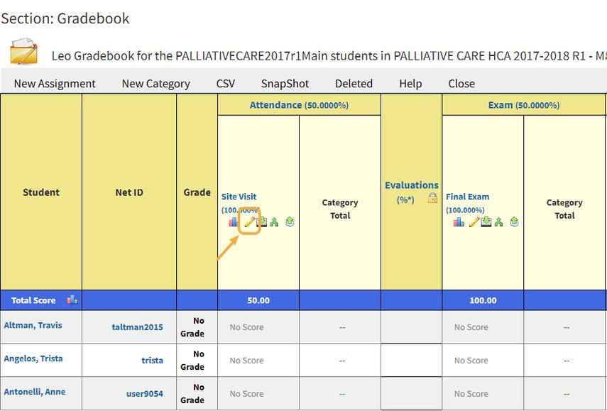 Step 2: Course Gradebook