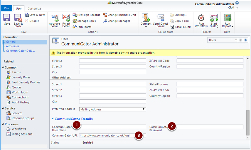 Microsoft Dynamics CRM User Record & CommuniGator Login Details