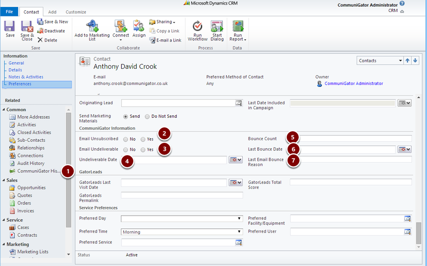 Microsoft Dynamics CRM Contact
