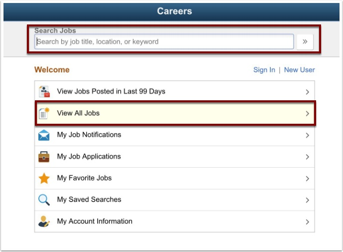 Search jobs page