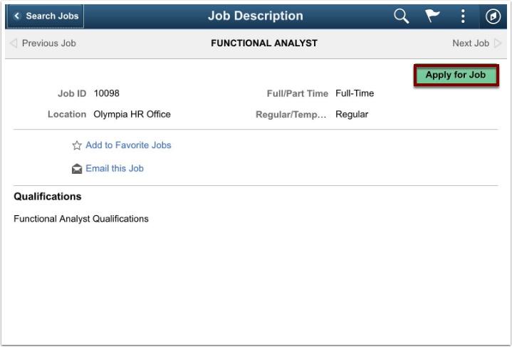 Job Description page
