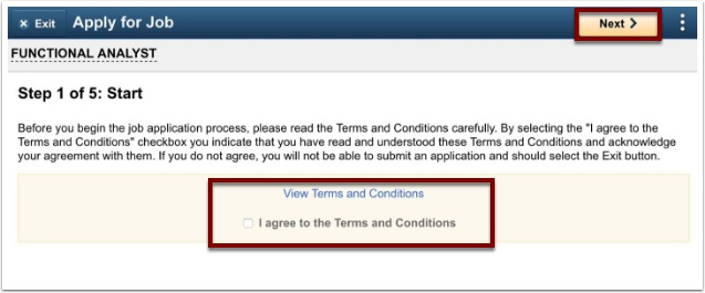 View terms and conditions section