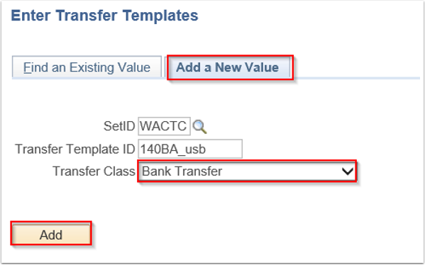 Enter Transfer Templates search page