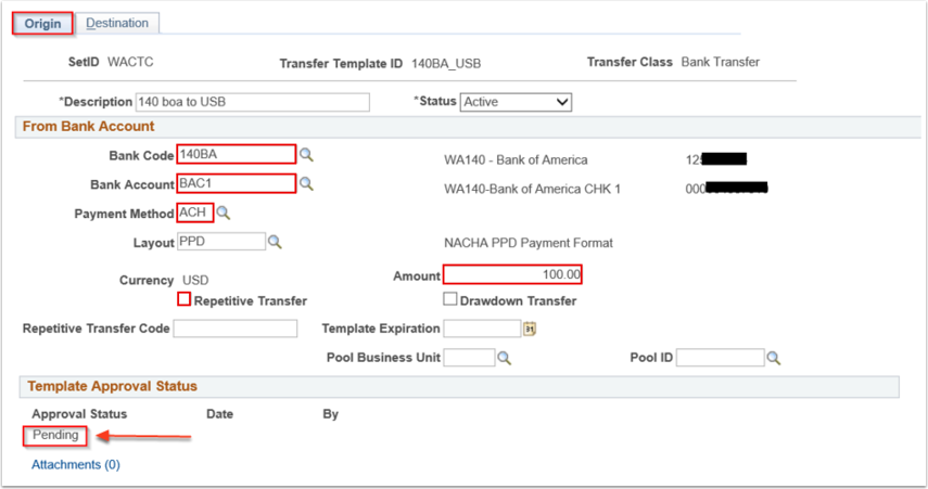 Enter Transfer Templates page Origin tab