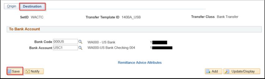 Enter Transfer Templates page Desitnation tab