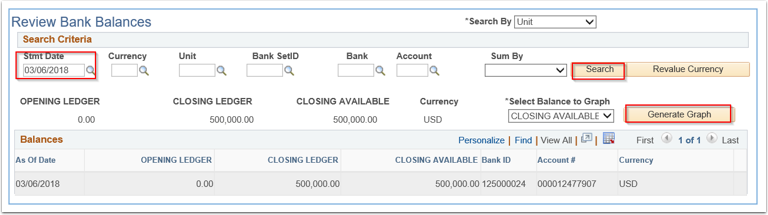 Review Bank Balances page