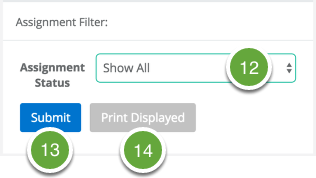 Assignment Filter and Print Options