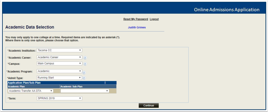 Academic Data Selection Page