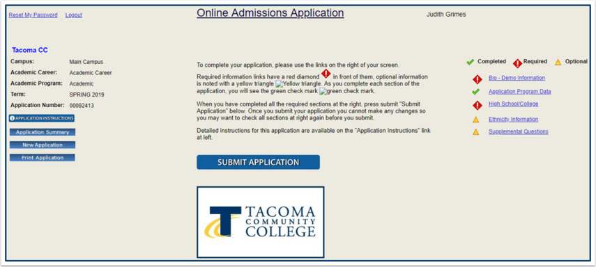 Online Admissions Application Navigation Links Page
