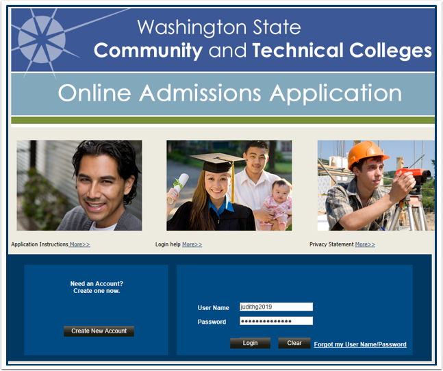 Online Admissions Application Login Page