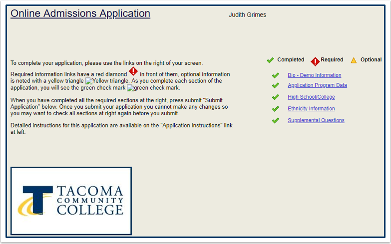 Online Admissions Application Submission Confirmation