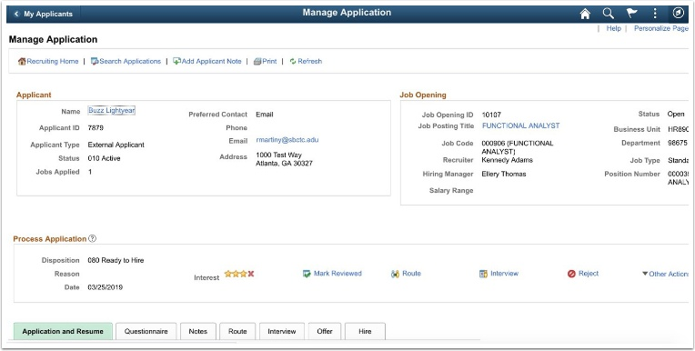 Manage application page