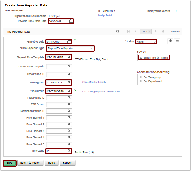 Create Time Reporter Data page