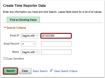 Create Time Reporter Data search page