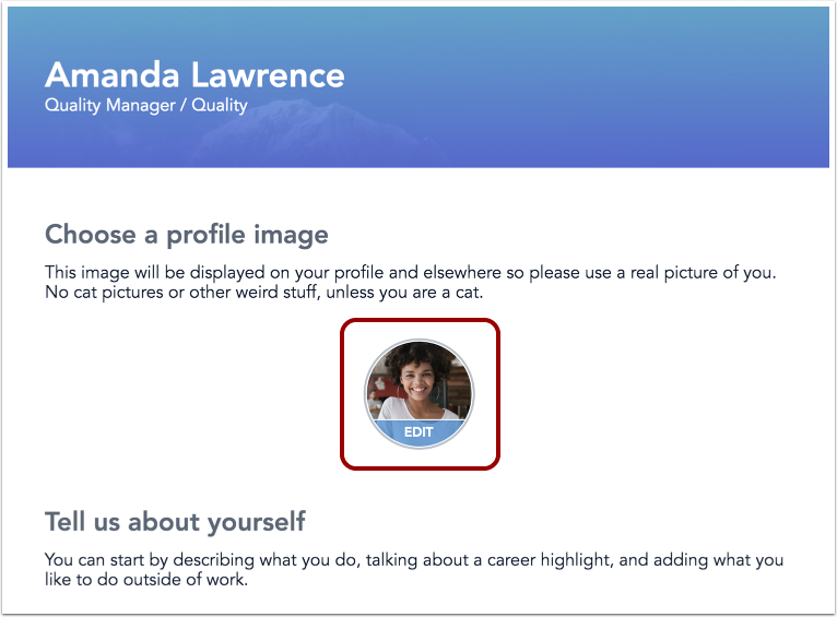 Image of profile editor page displaying new profile picture