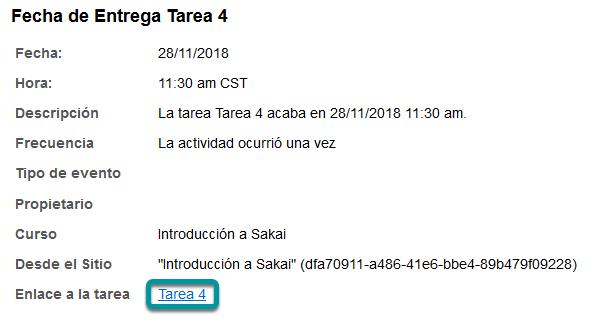 O dé clic en el enlace directo a la tarea/asignación, desde Horario/Calendario (Schedule/Calendar).