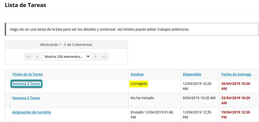 Dé clic en una tarea/asignaciones (assignment).