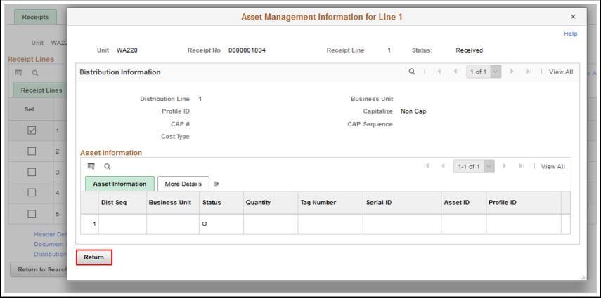 Asset Management Information for Line 1 page