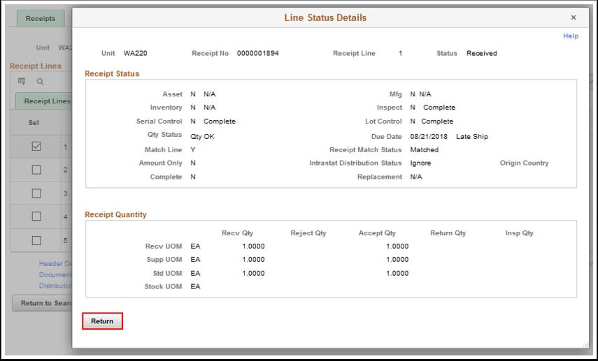 Line Status Details page