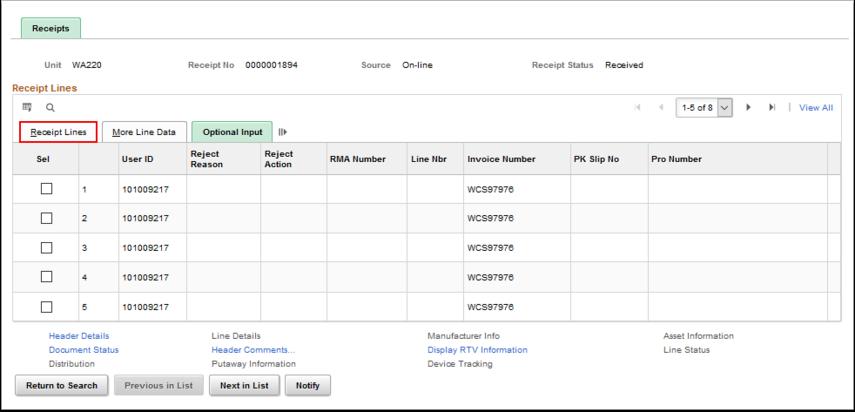 Recipts page - Optional Input tab