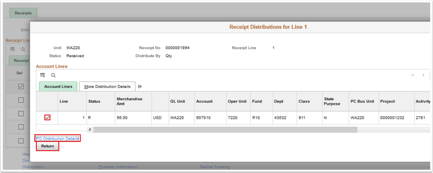 Reciept Disribution for Line 1 page