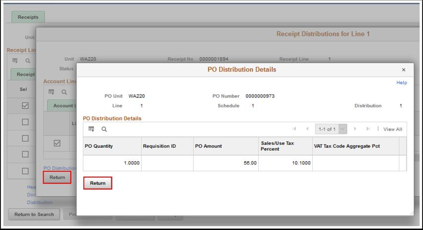 PO Distribution Details page