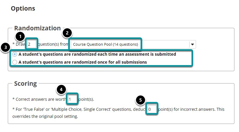 """If """"random draw from question pool"""" is selected, the following options will display."""