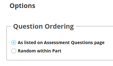 "If ""questions authored one-by-one"" is selected, the following options will display."