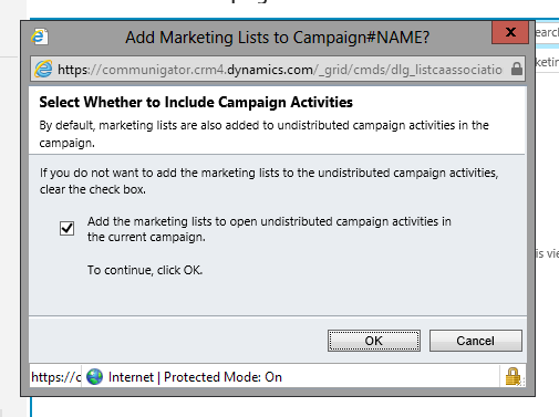 Add Marketing List to Undistributed Campaign Activities