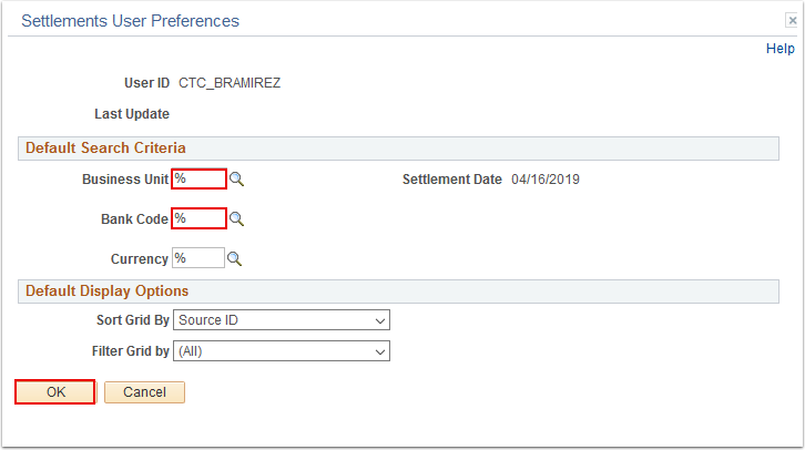 Settlements User Preferences window